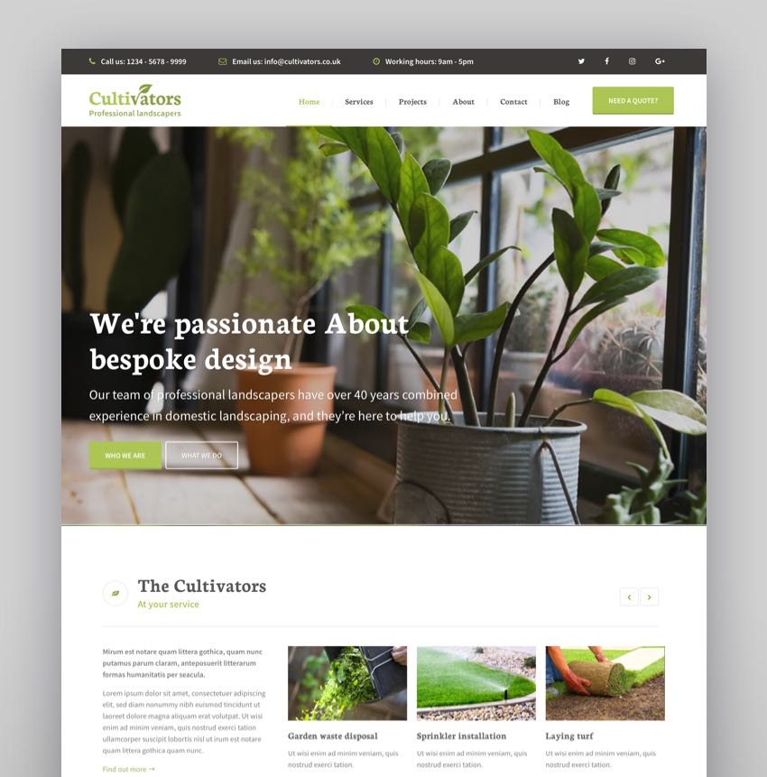 Cultivators - WordPress Gardening Design