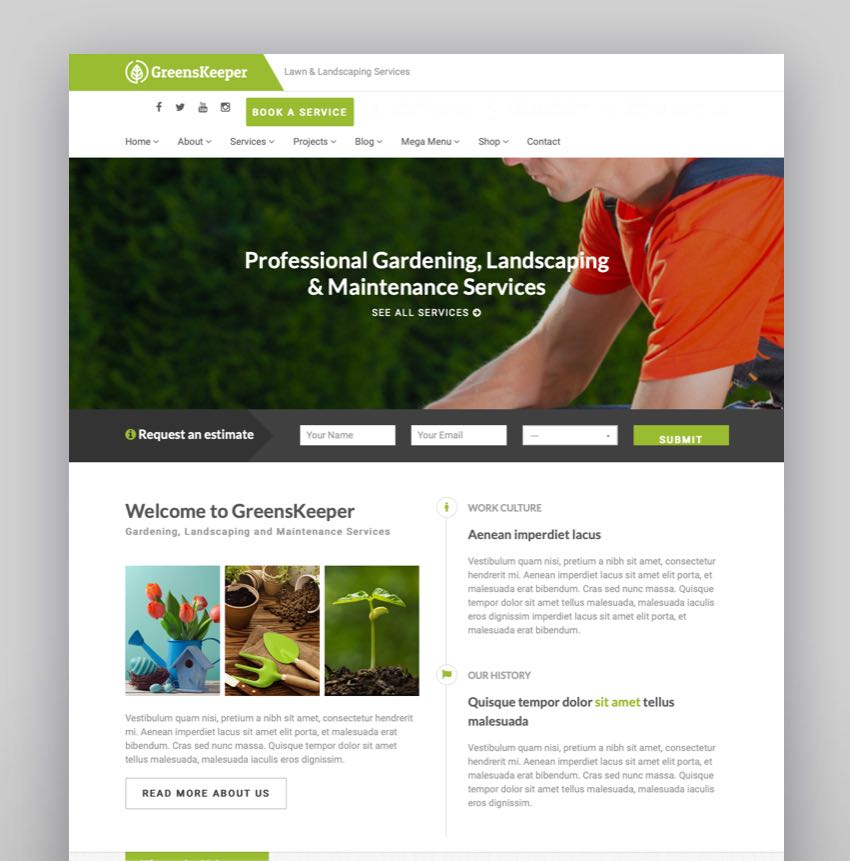 GreensKeeper - Gardening  Landscaping Responsive WordPress Theme