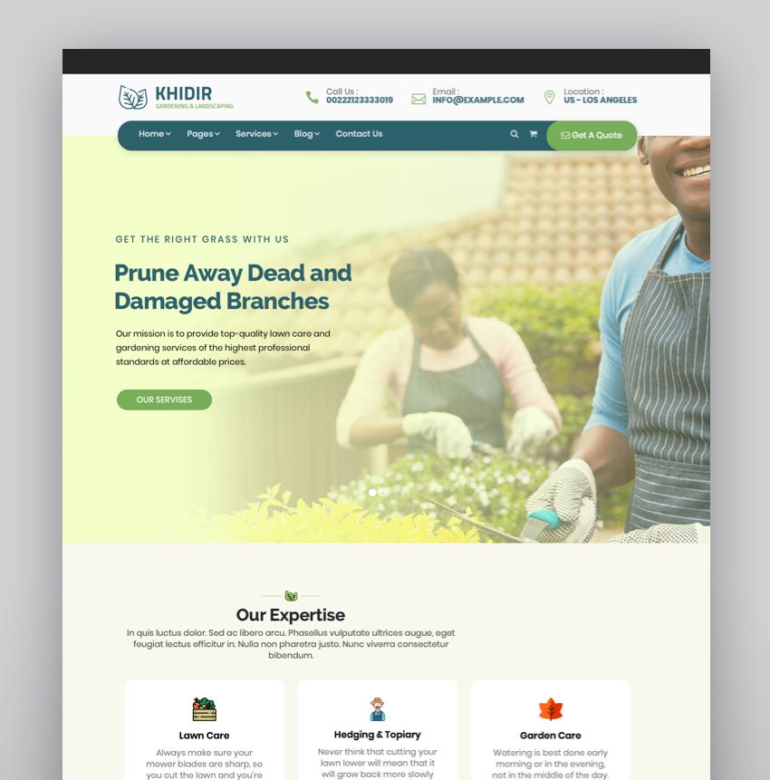 Khidir - Gardening  Landscaping WordPress Theme