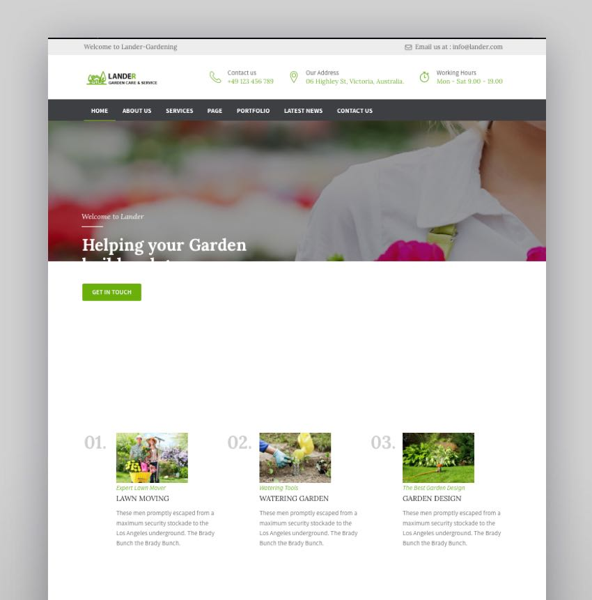 Lander - Landscaping WordPress Theme