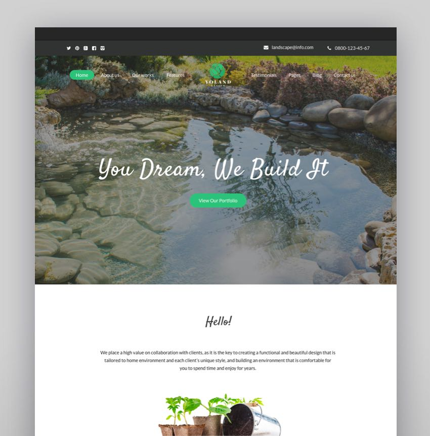 Yoland - Landscape Design  Garden Accesories Store WordPress Theme