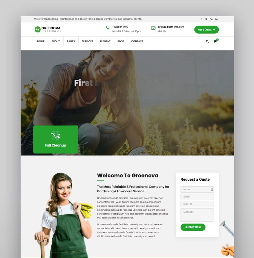 Greenova - Gardening  Landscaping WordPress Theme