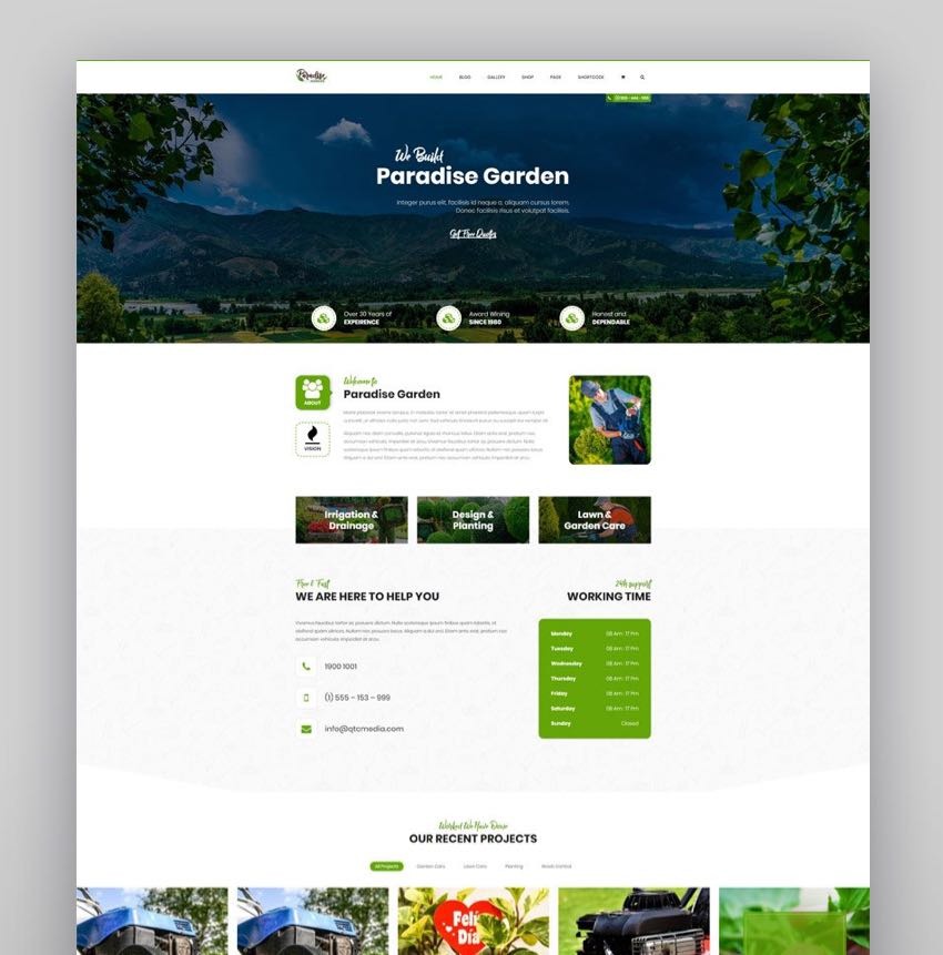QParadise - Gardening and Landscaping WordPress Theme