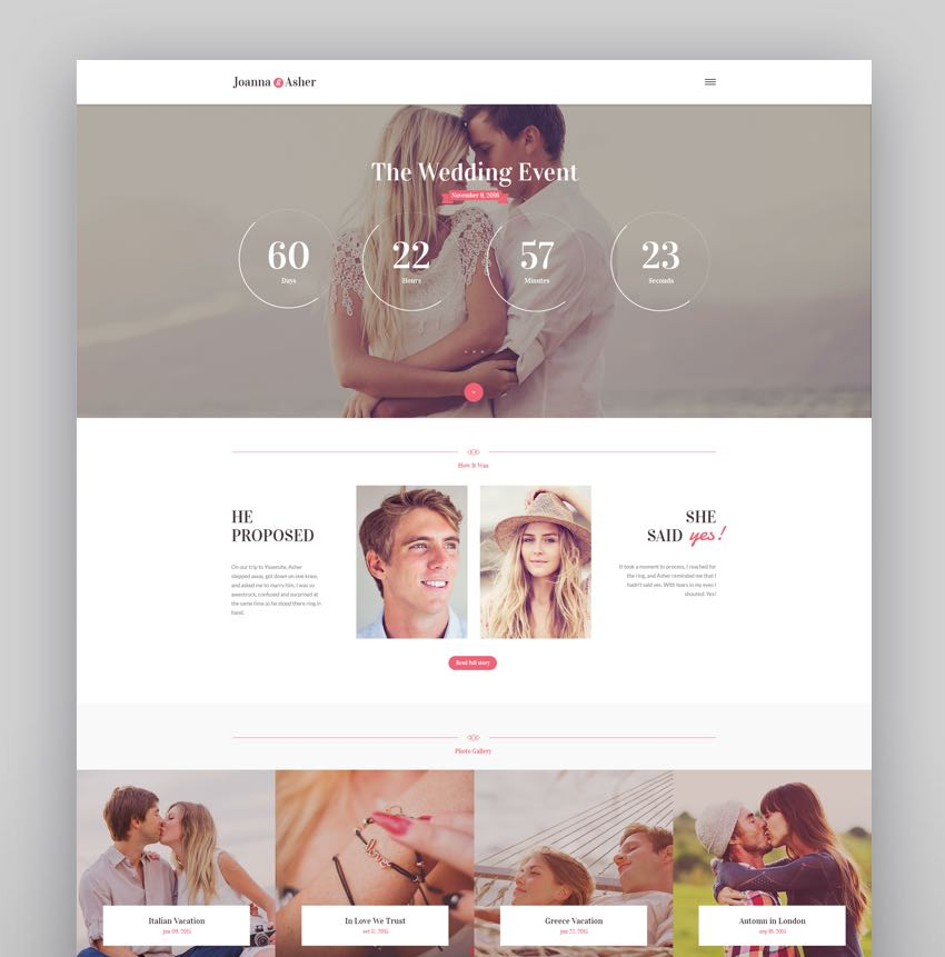 Wedding Day - Birthday Marriage  Event WordPress Theme