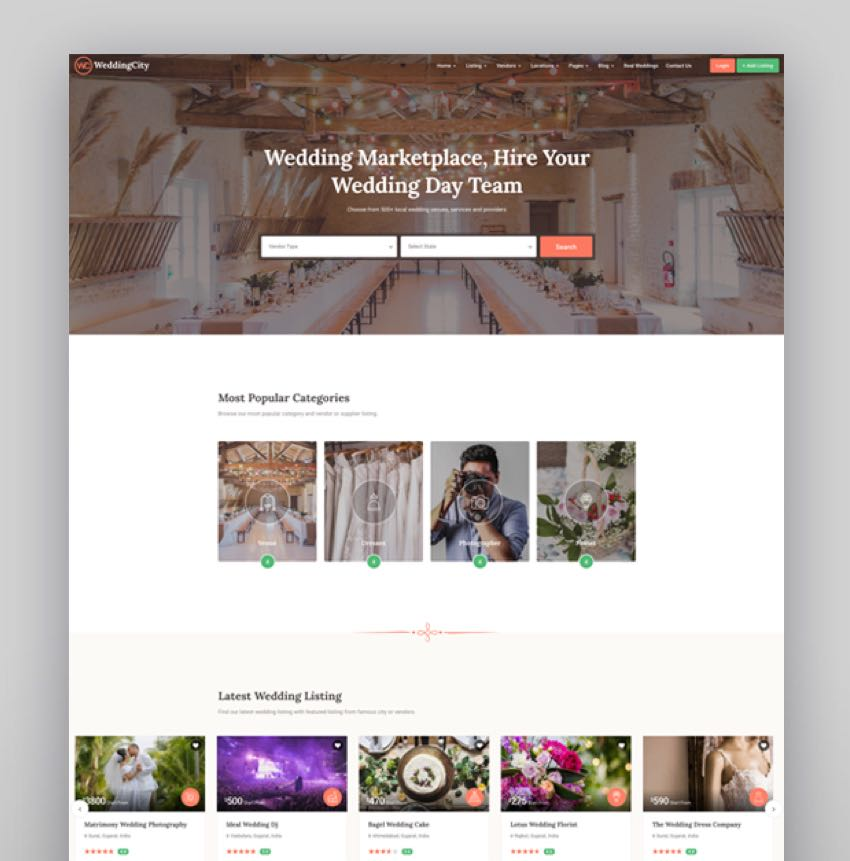 WeddingCity - Directory  Listing WordPress Theme