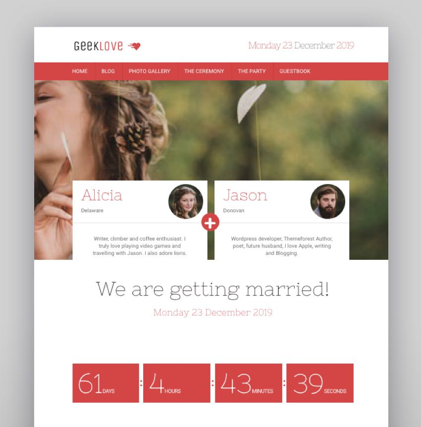 GeekLove - A Responsive WordPress Wedding Theme