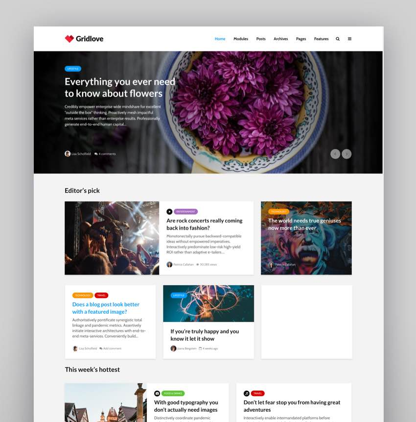 Gridlove - Creative Grid Style News  Magazine WordPress Theme