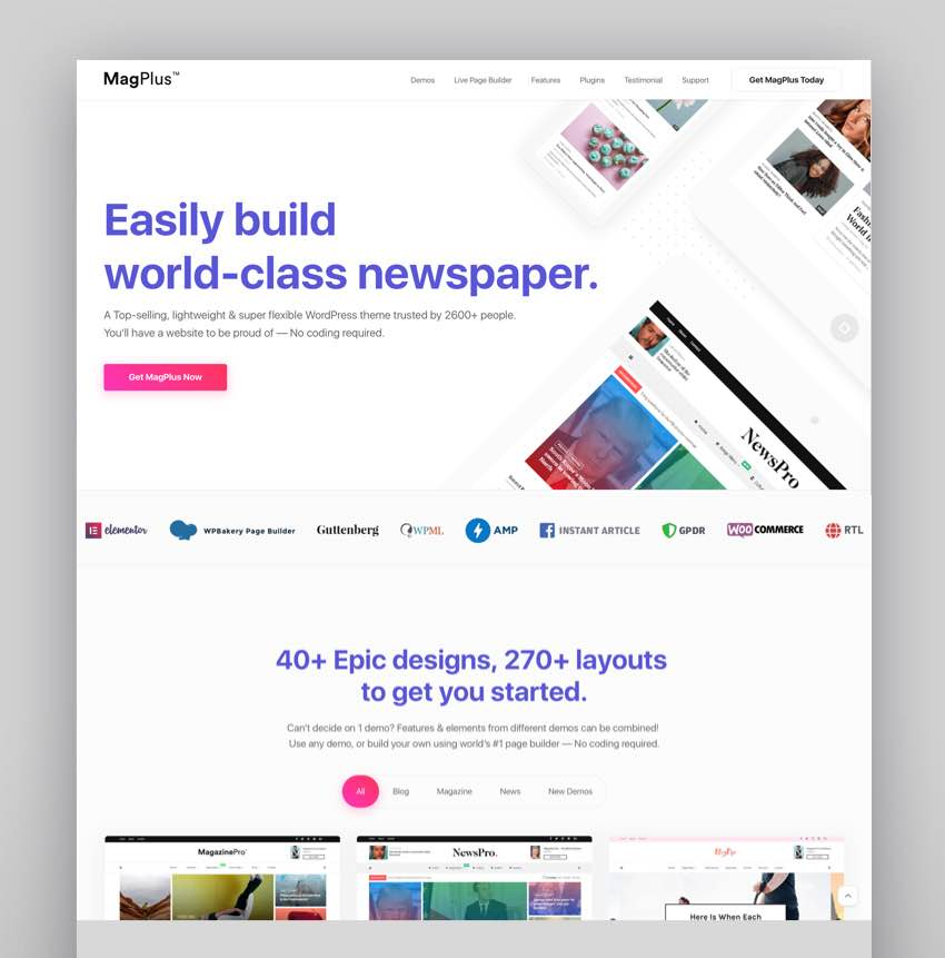 MagPlus - Blog Magazine Elementor WordPress Theme