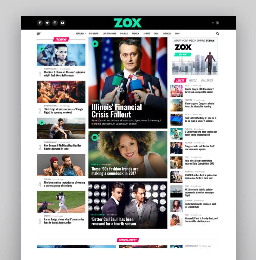 Zox News - Professional WordPress News  Magazine Theme