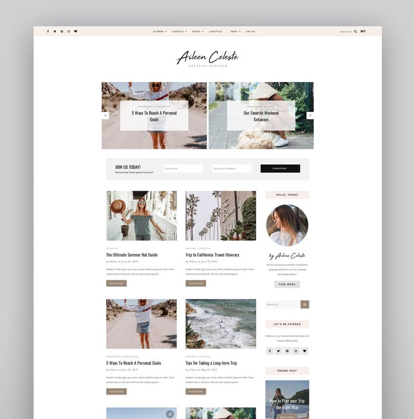 Aileen - A Personal Blog  Shop Theme