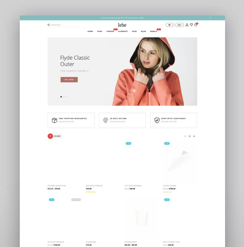 Lebe - Multipurpose WooCommerce Theme RTL Supported