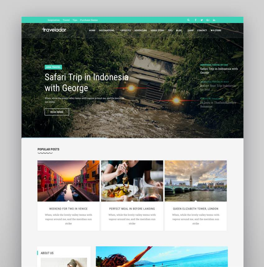 Travelador - WordPress Blog Travel WooCommerce Shop Theme