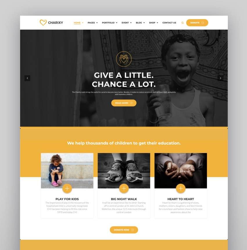 Charixy - CharityFundraising WordPress Theme