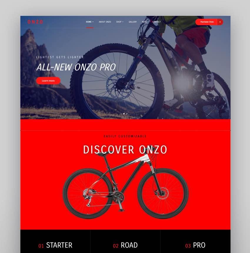 Onzo - Single Product  Bike Shop eCommerce Theme