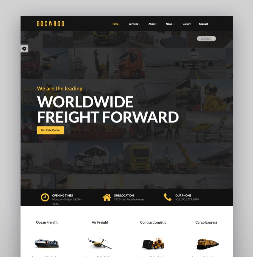 GoCargo - Freight Logistics  Transportation WordPress Theme