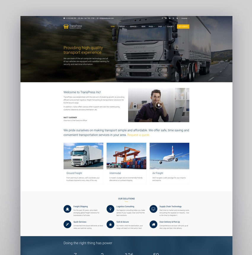 TransPress - Ultimate Transport Logistics Warehouse WP Theme