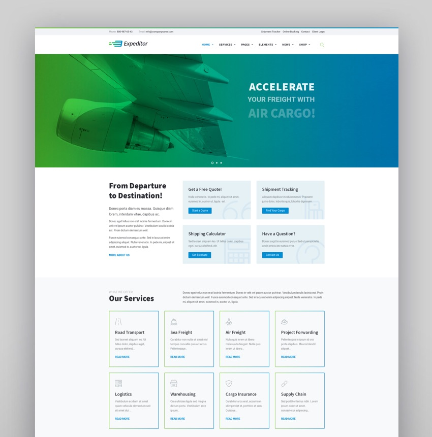 Expeditor - Logistics  Transportation WordPress Theme