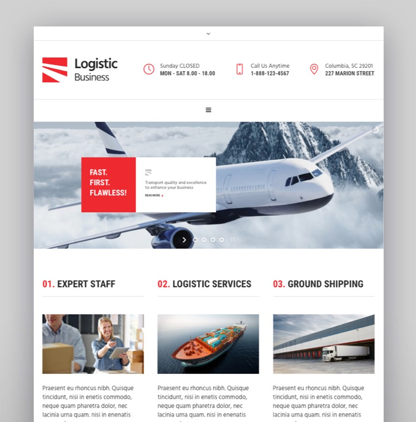 Logistic Business - Transport  Trucking Logistics WordPress Theme