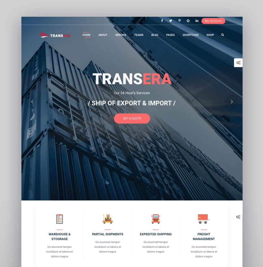 Logistics Transportation WordPress  Transera