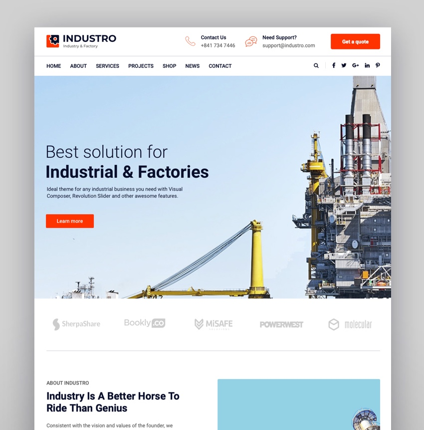 Industro - Industry Factory WordPress Theme