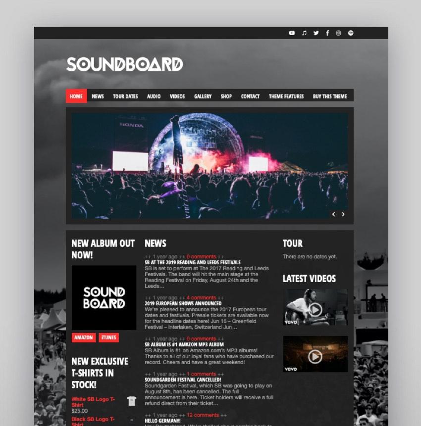 Soundboard - a Premium Responsive Music Producer WordPress Theme