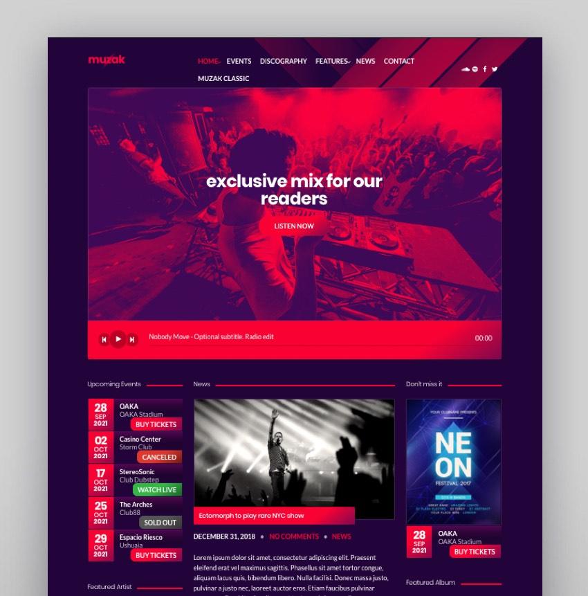 Muzak - Music WordPress theme