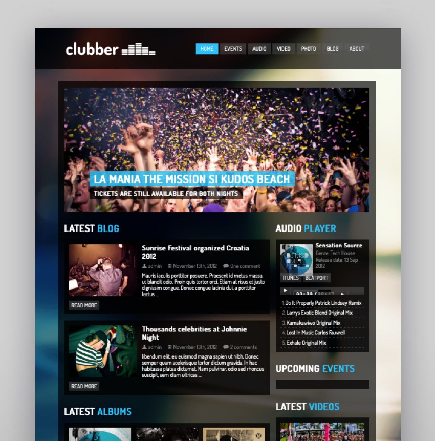 Clubber - Events  Music WordPress Theme