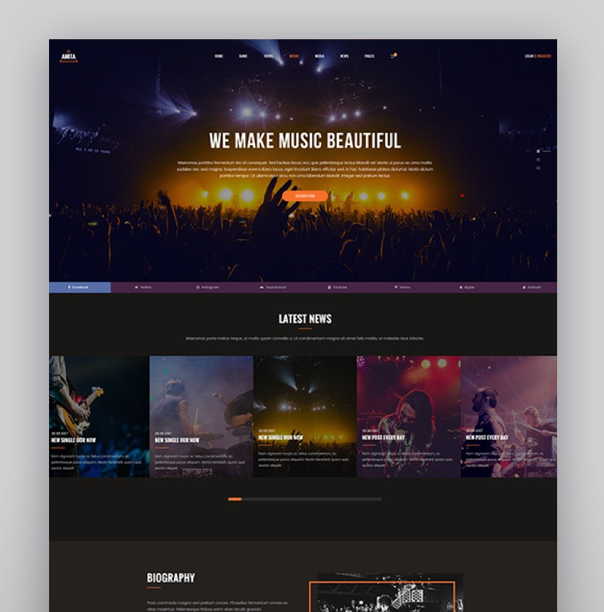 AMITA - Music Band WordPress Theme