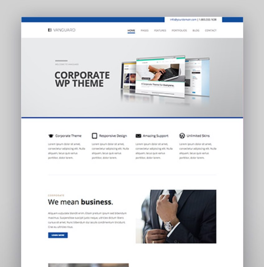 Vanguard Business  Portfolio WordPress Theme