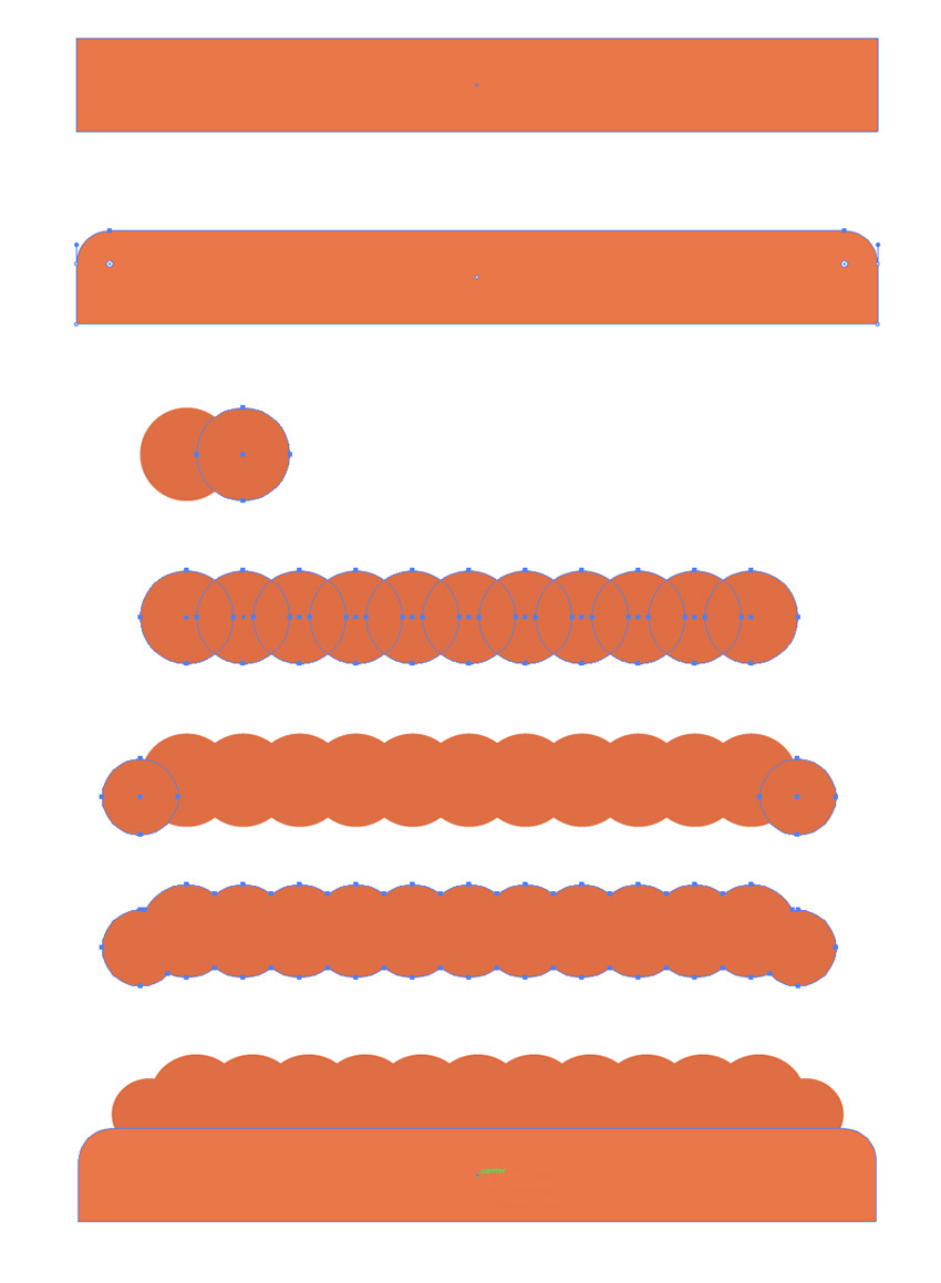Creating the orange rectangle and the wavy shape