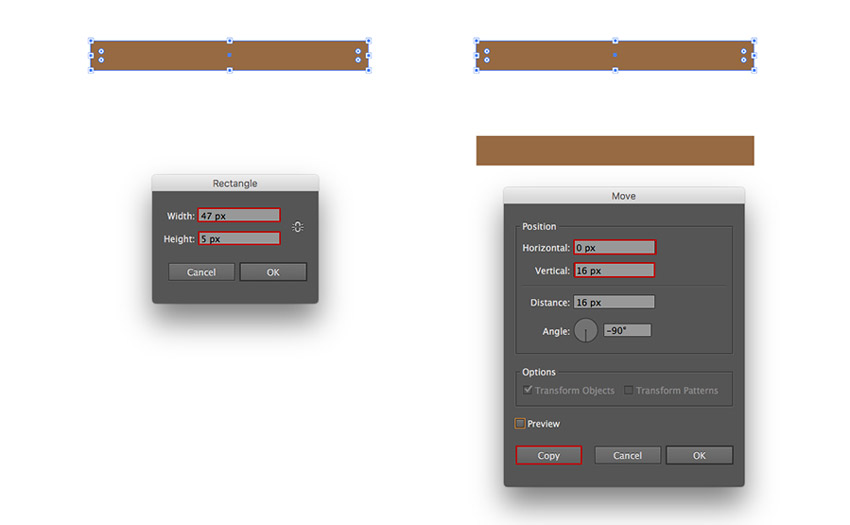 Creating two brown rectangles