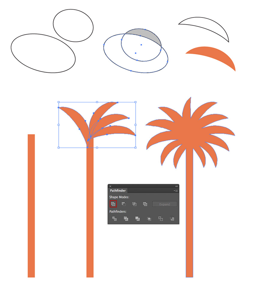 Creating the palm shape