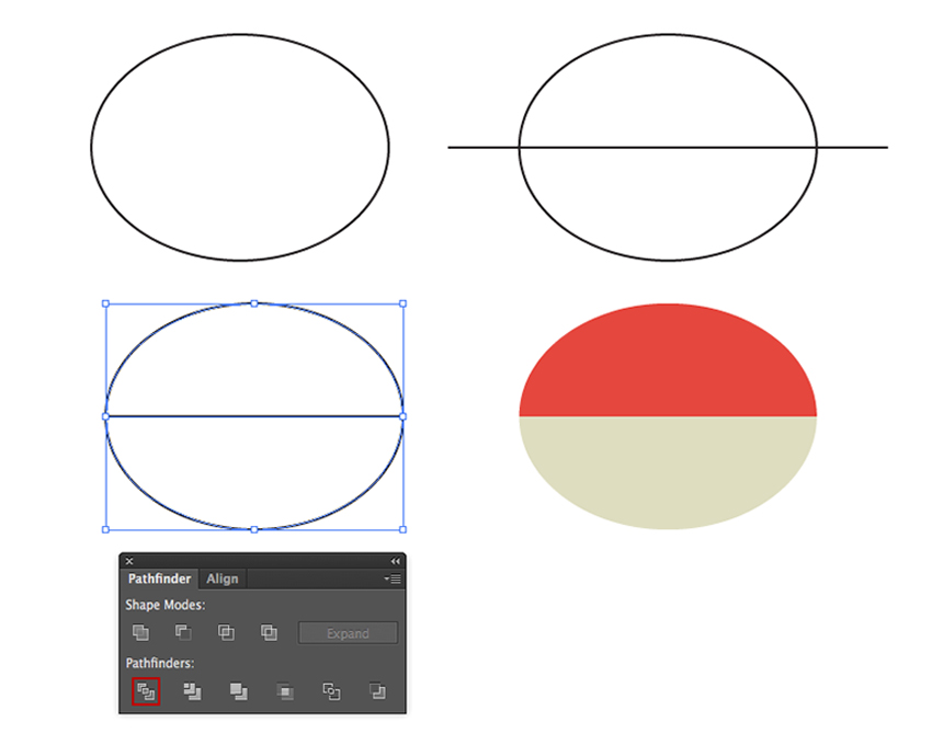 Building an ellipse and dividing it on two parts