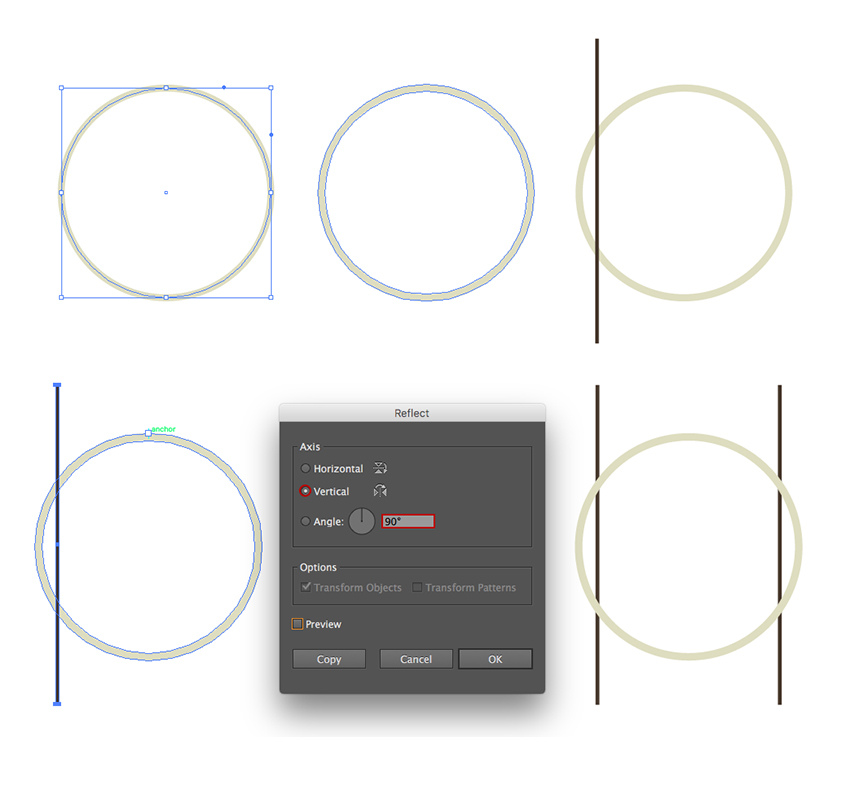 Creating a stroked circle and two vertical stripes