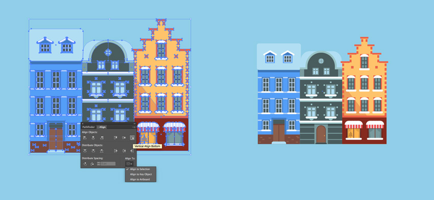 Aligning the houses and adding blue background