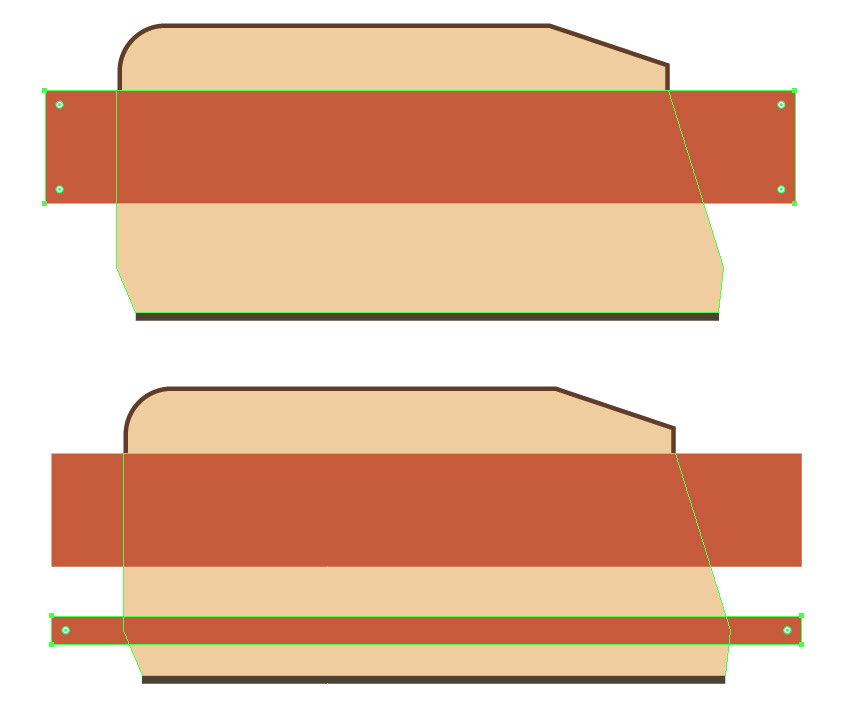 Forming two decorative stripes