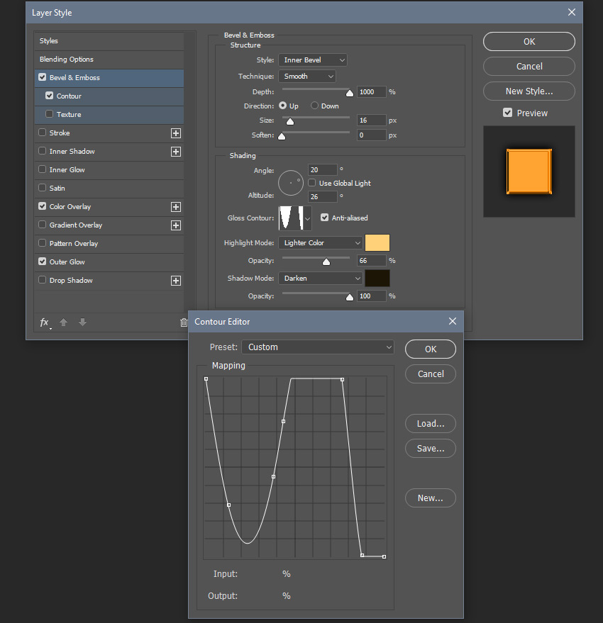 Adding a Bevel and Emboss effect