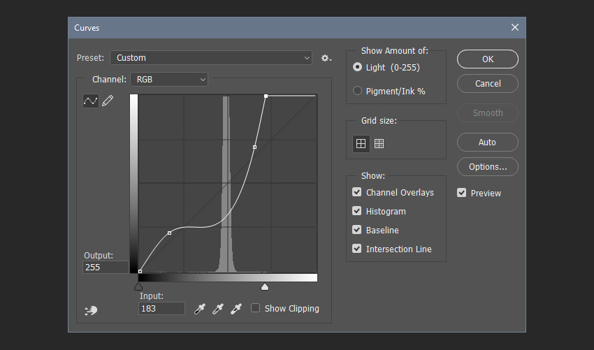 Adjusting the curves filter