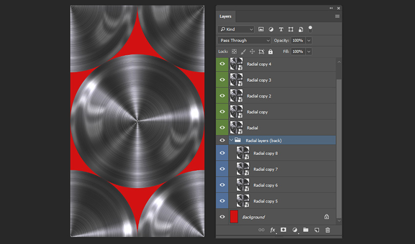 Creating four more copies of the radial layer