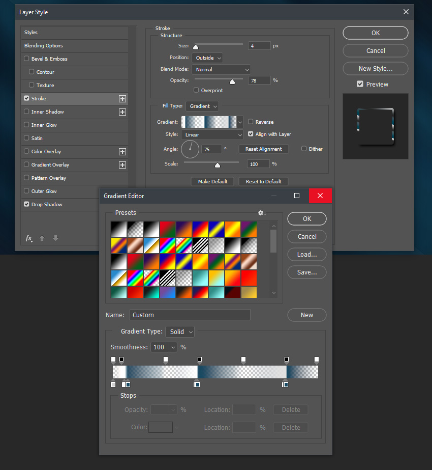 Stroke and gradient settings