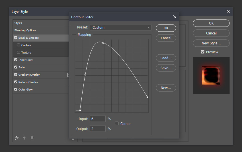 Contour Editor with a custom preset