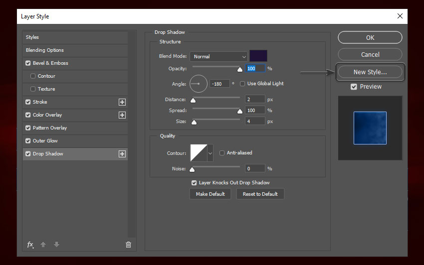 Drop shadow settings and how to save photoshop text effects