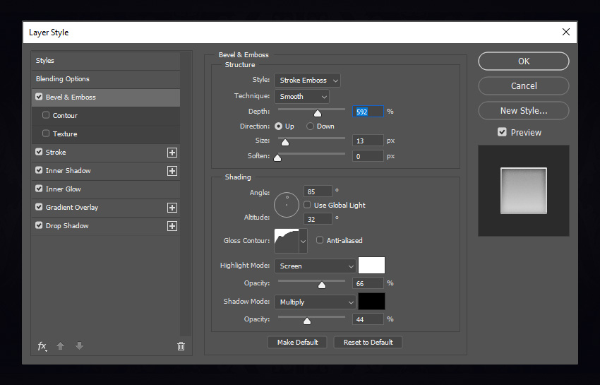 Bevel and Emboss settings