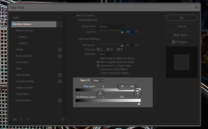 Blend if settings