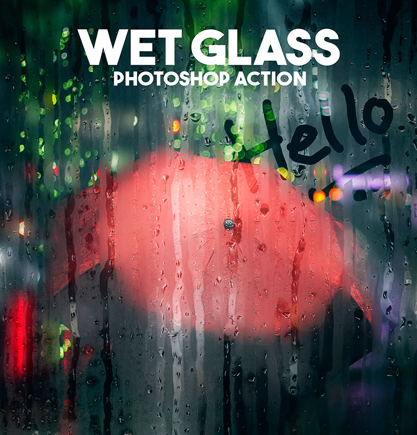 Wet Glass Photoshop Action promo image
