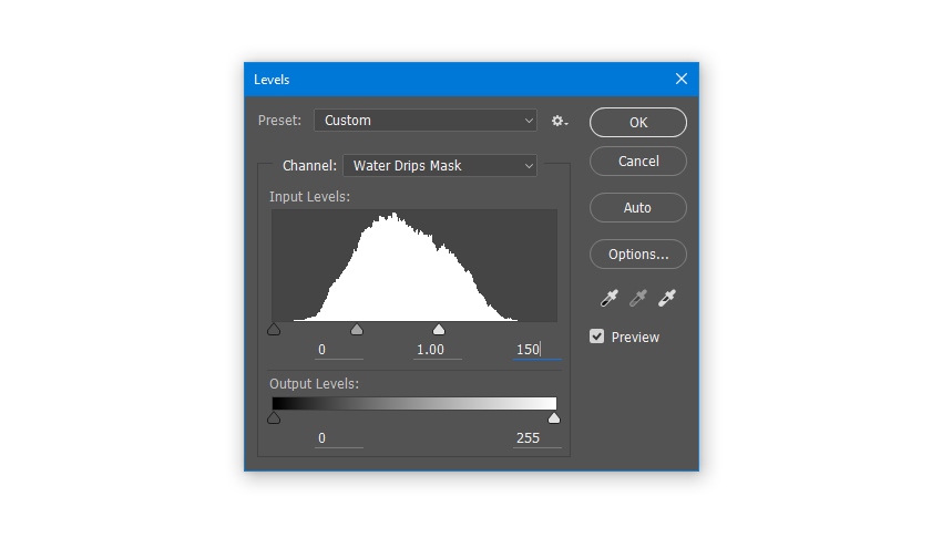 Adjusting Levels of Layer Mask of Water Drips layer