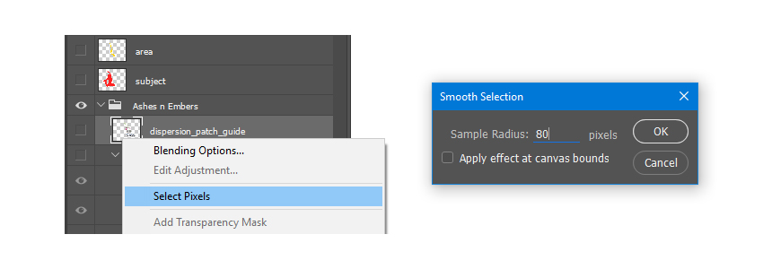 Select Pixels of the dispersion_patch_guide layer and Smooth the selection with Radius 80 pixels