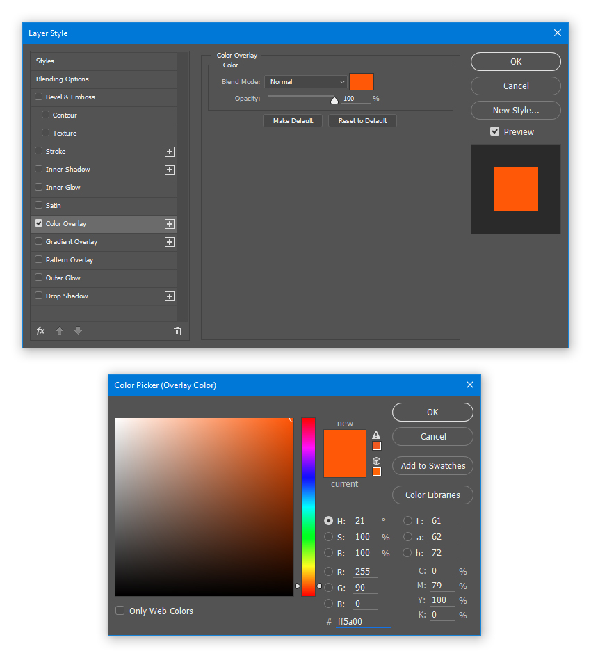 Apply Color Overlay to the embers_2 layer with color ff5a00