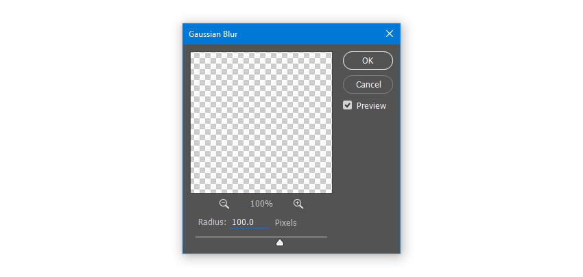 Apply Gaussian Blur with Radius 100 pixels
