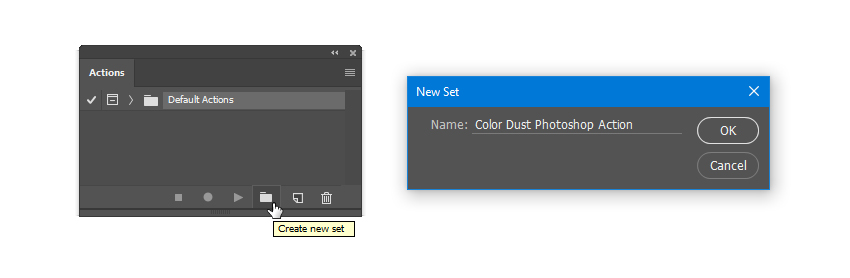 Create a new set called Color Dust Photoshop Action